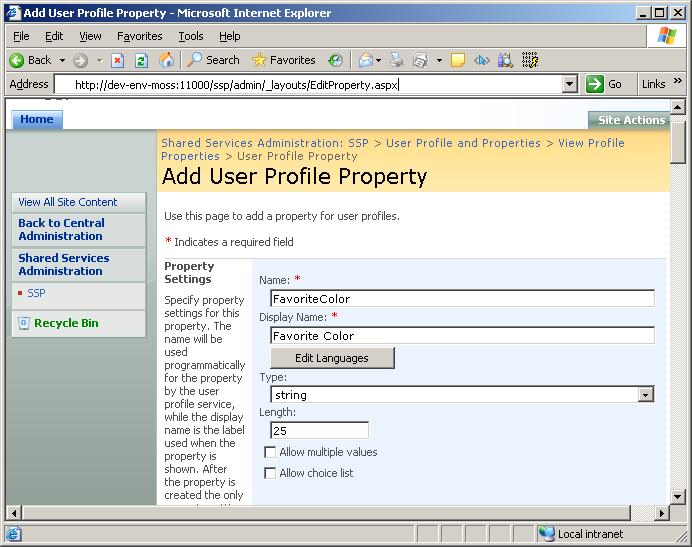 Add User Profile property