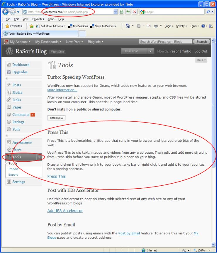 Locate WordPress Bookmarklets