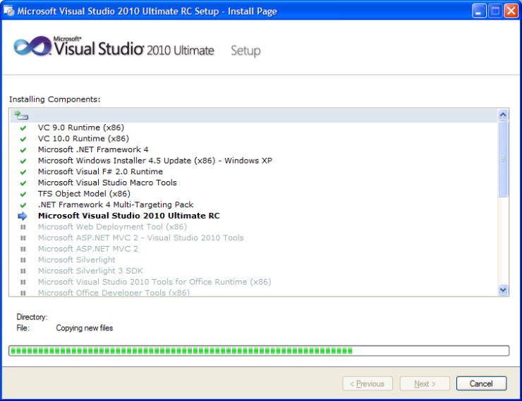Install VS2010 Ult RC
