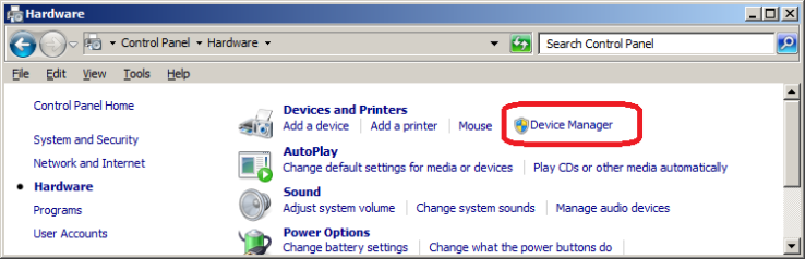 Link to Device Manager