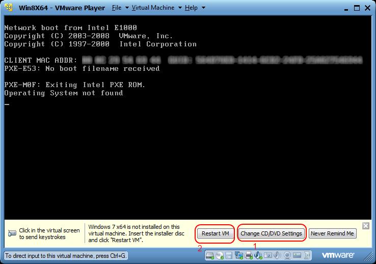 Booting VMWare empty image