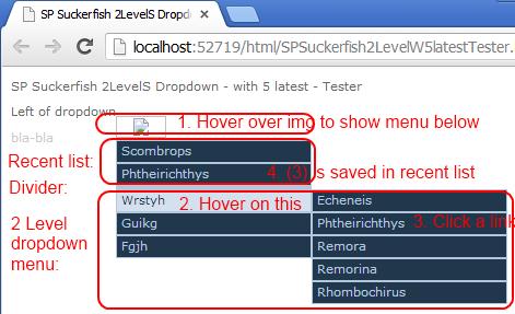 2 level dropdown w. 5 latest