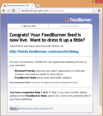 Feedburner setup