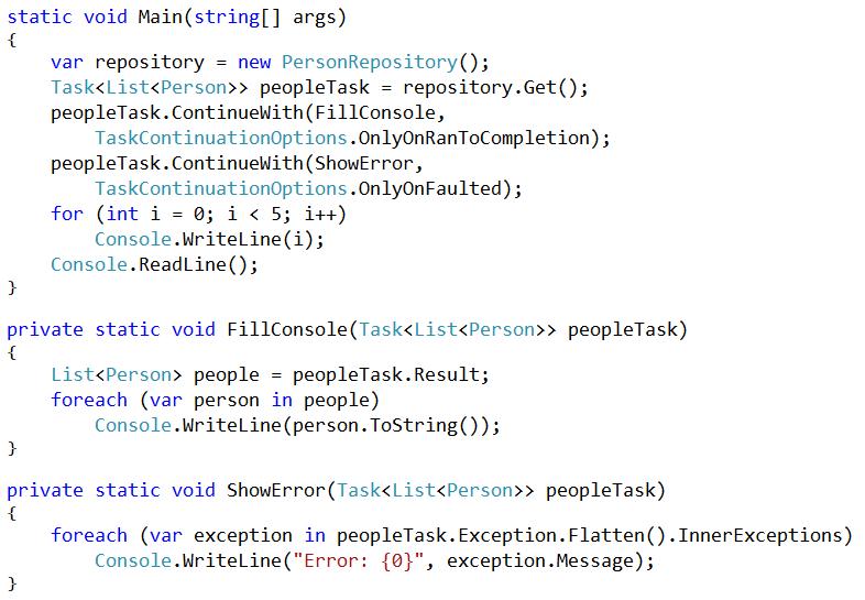 Async error handlind