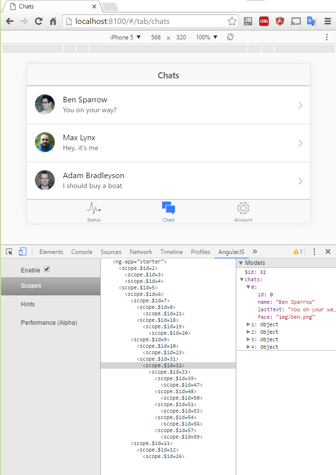 ionic-starter-tabs chats